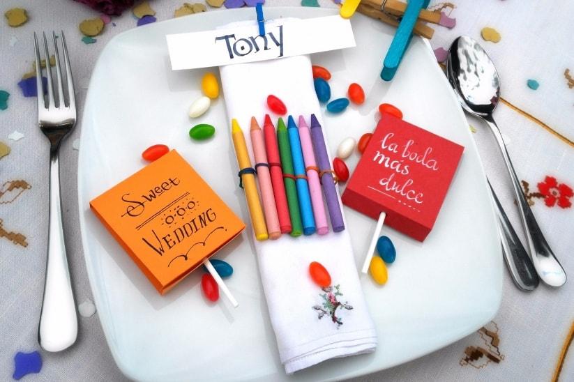 Detalles para niños y dejarlos entretenidos durante la boda