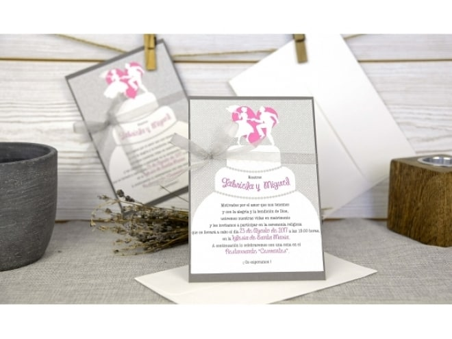 Invitación de boda dibujo tarta 32663